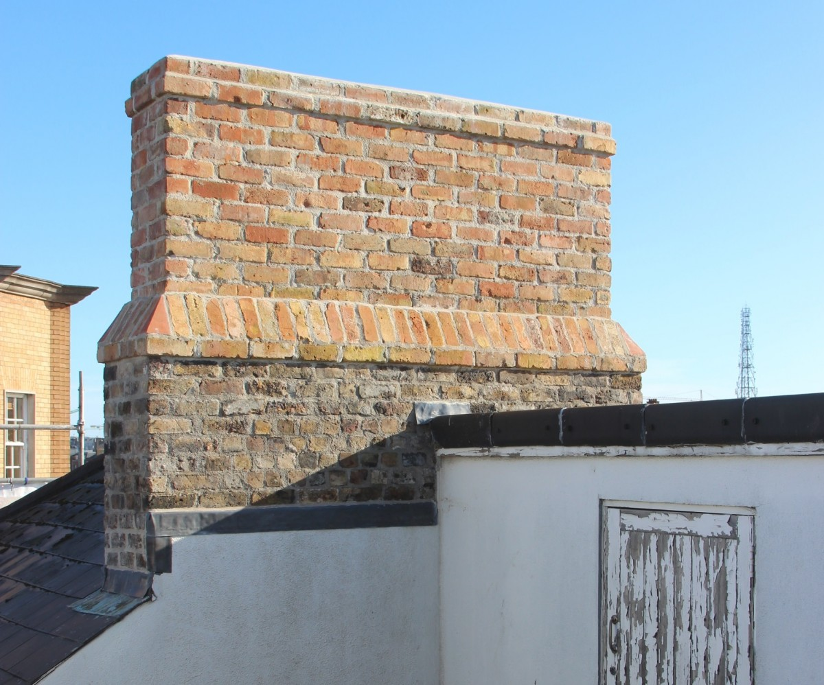 One of our pair of chimneys rebuilt to its original height