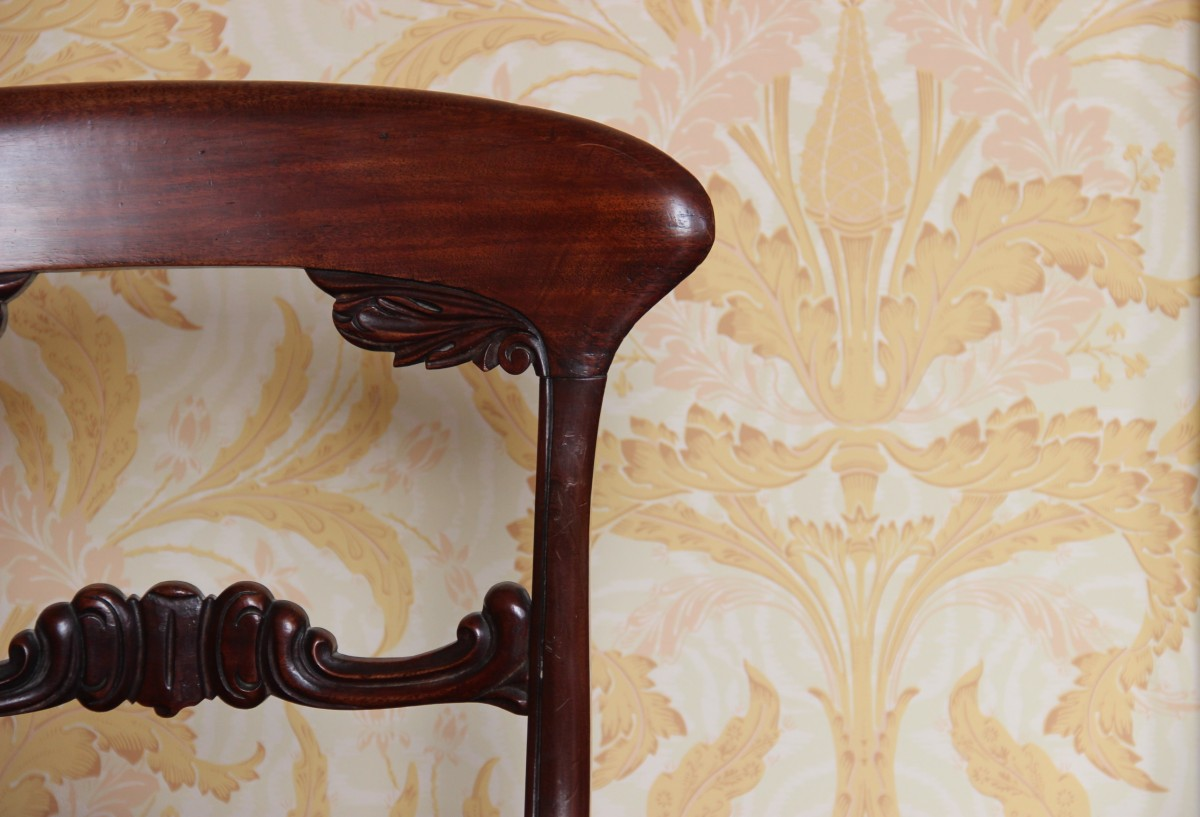William IV mahogany chair paired against 1840s Dublin wallpaper, first floor