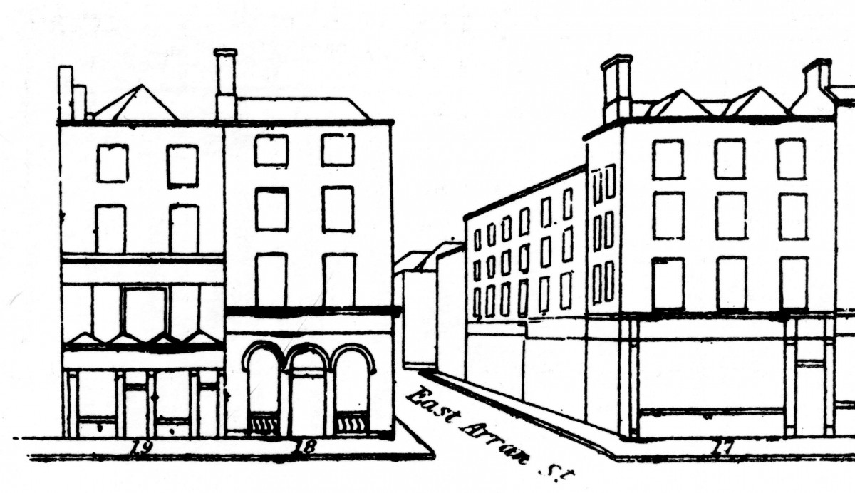 Extract from Shaw's Pictorial Directory showing the front elevation in the year 1850.