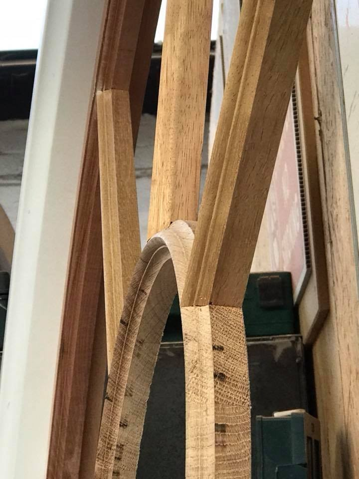 New glazing bars of European oak.