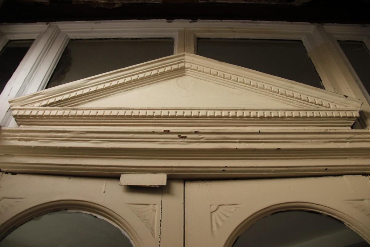 Imposing Edwardian overdoor to shop, installed by grocer Edward Corcoran in 1902