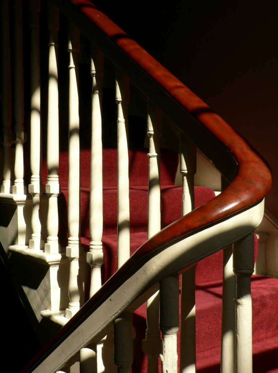 Conserved balustrade with mahogany handrail