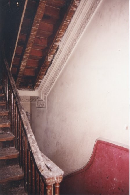 Staircase with collapsed ceilings