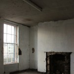Second floor front room overlooking the river Liffey. Missing original features such as window shutterboxes and decorative plasterwork will be reinstated.